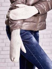 Jasnobeżowe rękawiczki na jeden palec z błyszczącą nicią