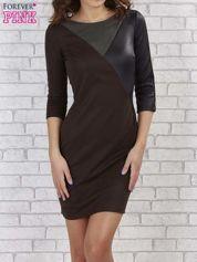 Khaki sukienka z trójkątnym wykończeniem