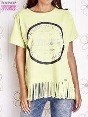 Limonkowy t-shirt z nadrukiem i frędzlami