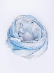 Niebieska bawełniana chusta damska duża w pasy