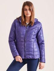 Forever Pink Niebieska błyszcząca kurtka zimowa z kapturem