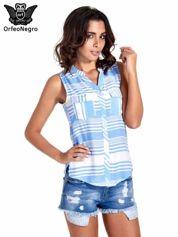 Niebieska koszula w paski bez rękawów