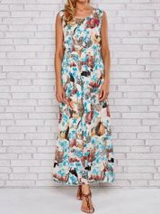 Niebieska sukienka maxi z motywem leopard print