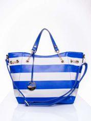 Niebieska torba shopper bag w pasy efekt saffiano