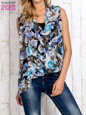 Niebieska warstwowa bluzka koszulowa w kwiaty