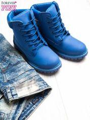 Niebieskie jednolite buty trekkingowe damskie traperki ocieplane