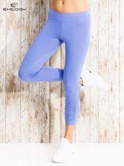 For Fitness Niebieskie legginsy sportowe z aplikacją z dżetów na nogawkach