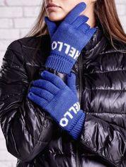 Niebieskie rękawiczki HELLO na pięć palców z wywijanym ściągaczem