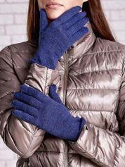 Niebieskie rękawiczki ze srebrną nicią z wywijanym mankietem