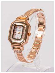Ozdobny damski zegarek z cyrkoniami, w kolorze różowego złota, na stalowej bransolecie z łańcuszkami