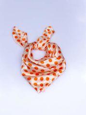 Pomarańczowa chusta apaszka w grochy