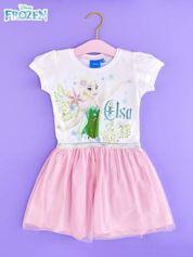 Różowa sukienka dla dziewczynki z brokatowym paskiem FROZEN