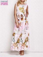 Różowa sukienka maxi w kwiaty