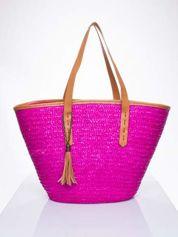 Butik Różowa torba koszyk plażowy ze skórzanymi rączkami