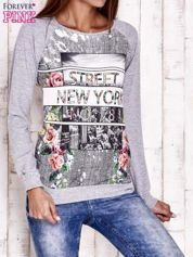 Szara bluza z miejskim nadrukiem