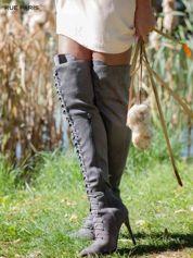 Szare zamszowe wiązane kozaki za kolano