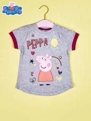Szary t-shirt dla dziewczynki ŚWINKA PEPPA