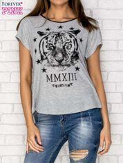 Szary t-shirt z nadrukiem tygrysa i zipem z tyłu