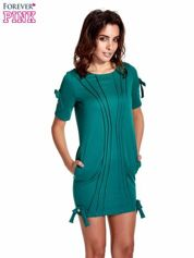 Zielona sukienka z kokardkami