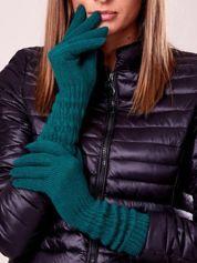 Zielone długie rękawiczki z drapowanym rękawem