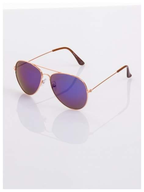 AVIATORY złote okulary pilotki lustrzanki niebiesko-fioletowe