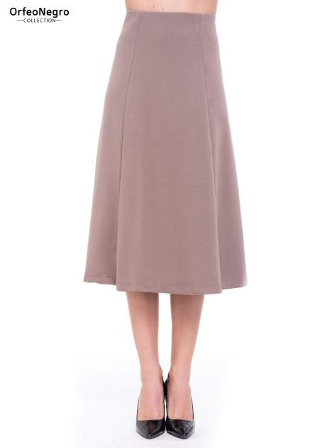 Beżowa elegancka spódnica midi o rozkloszowanym kroju