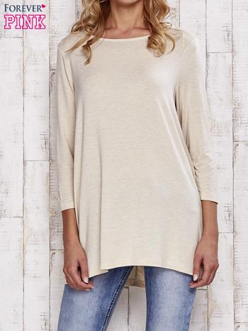 Beżowa melanżowa bluzka z łezką na plecach