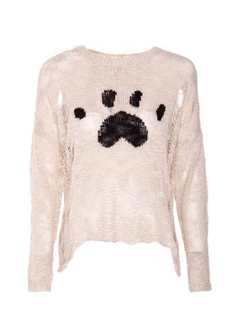 Beżowy sweter ze zwierzęcym nadrukiem i efektem destroyed