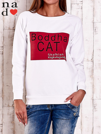 Biała bluza z napisem BODDHA CAT