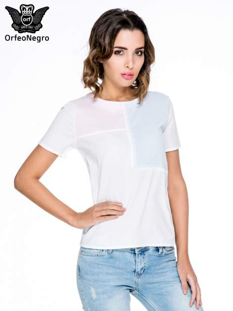 Biała bluzka koszulowa z geometrycznym wzorem