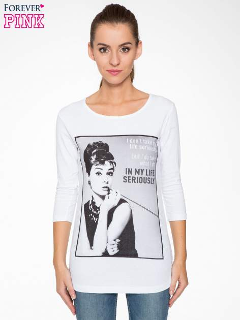 Biała bluzka z portretem Audrey Hepburn