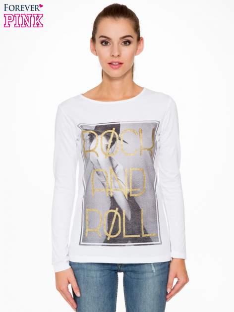 Biała bluzka ze złotym brokatowym napisem ROCK AND ROLL