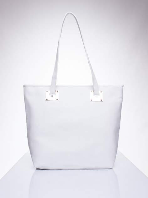 Biała prosta torba shopper bag ze złotymi okuciami