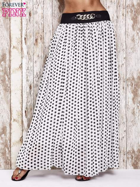 Biała spódnica maxi w grochy z ozdobnym pasem