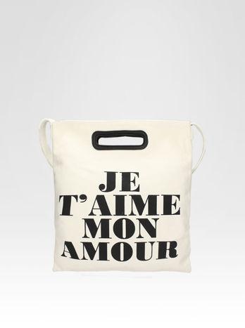 Biała torba shopper bag z napisem JE T'AIME MON AMOUR