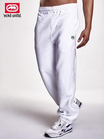 Białe spodnie dresowe męskie z kieszenią z tyłu