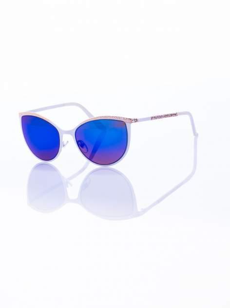 """Biało-złote okulary przeciwsłoneczne w stylu """"KOCIE OCZY"""" lustrzanka"""