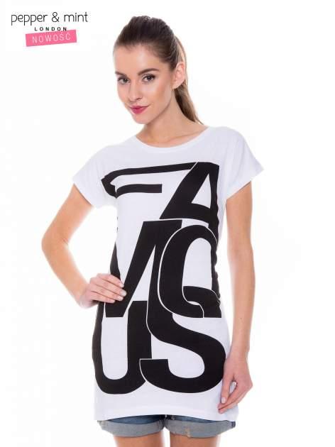 Biały t-shirt z dużym nadrukiem tekstowym FAMOUS