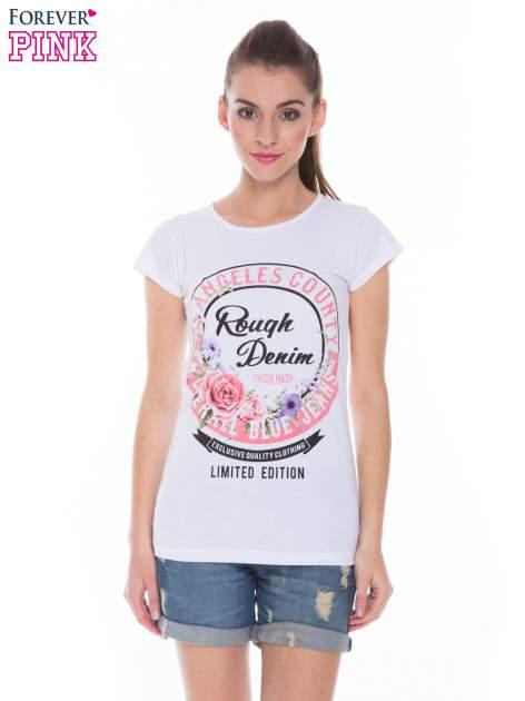 Biały t-shirt z dziewczęcym nadrukiem ROUGH DENIM