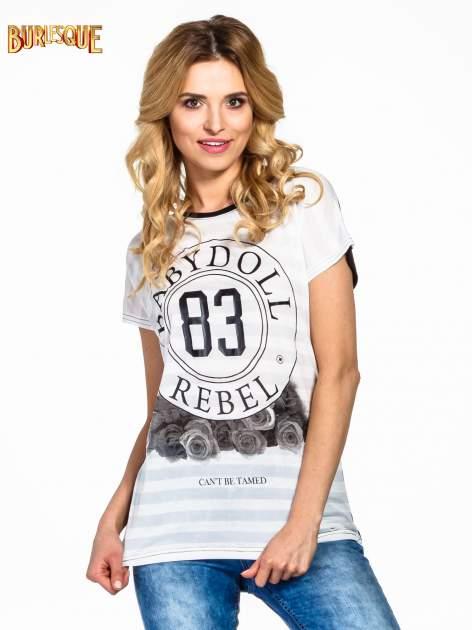 Biały t-shirt z nadrukiem BABYDOLL REBEL 83