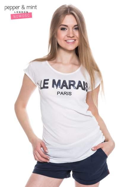 Biały t-shirt z nadrukiem LE MARAIS