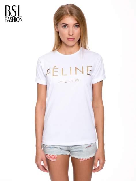 Biały t-shirt ze złotym napisem FÉLINE MEOW
