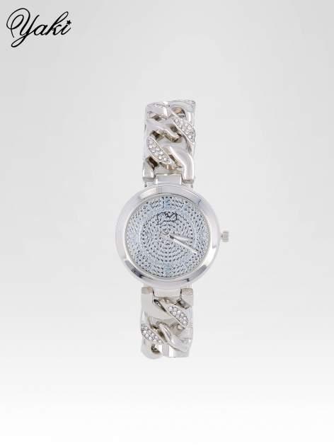 Bizuteryjny zegarek na bansolecie z cyrkoniami ze srebra