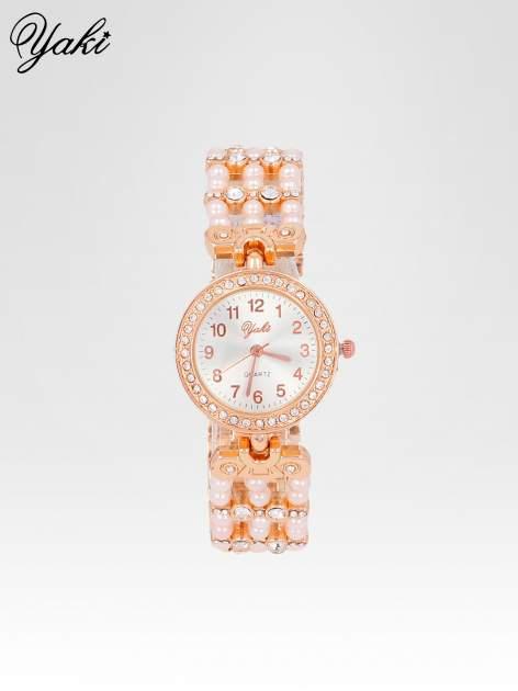 Biżuteryjny zegarek na bransolecie z cyrkoniami w kolorze różowego złota