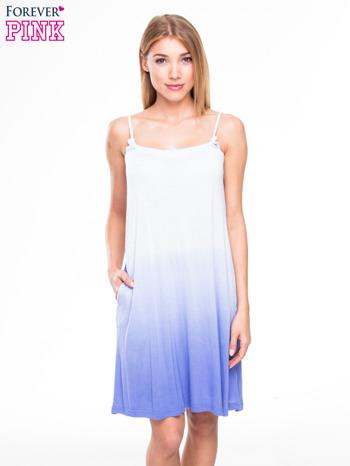 Błękitna sukienka na ramiączka z efektem ombre