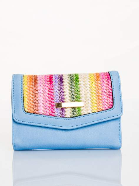Błękitny portfel z plecionką