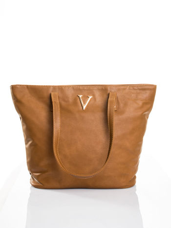 Brązowa torba ze złotym detalem
