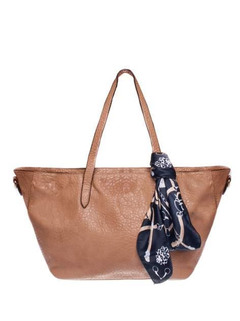 Brązowa torebka shopper bag z apaszką