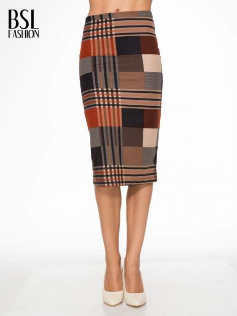Brązowa wełniana ołówkowa spódnica w geometryczny nadruk