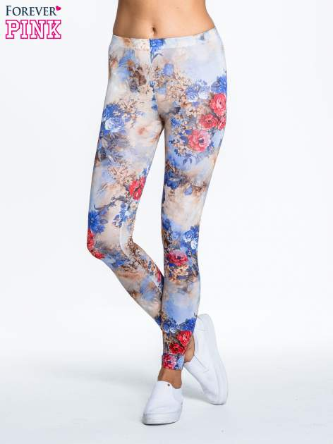 Brązowe legginsy z nadrukiem w kolorowe kwiaty